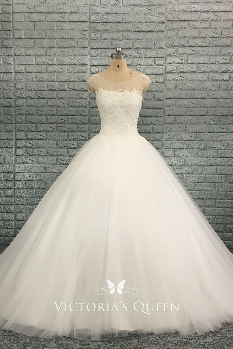 9f6c9a3c1aa9 Beaded Illusion Cap Sleeve Ivory Tulle Lace up Princess Ball Gown Wedding  Dress