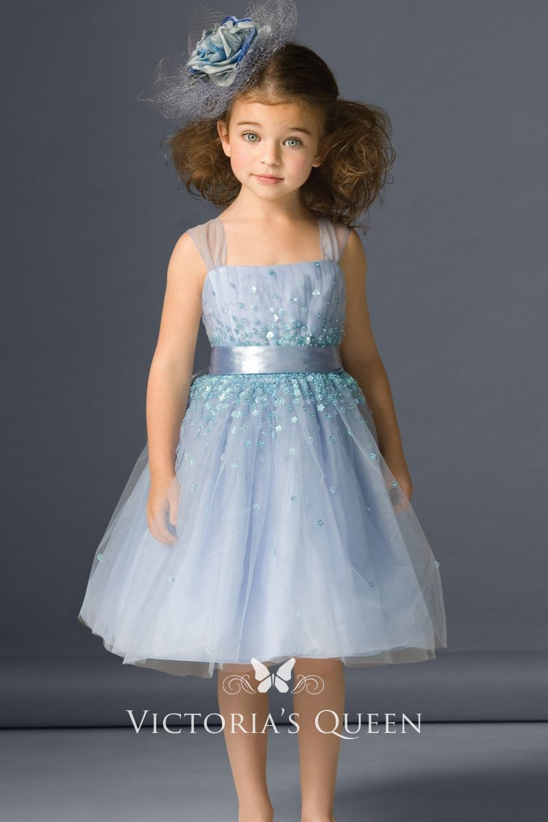 2425e89ca527 Light Blue Tulle Short Beautiful Daisy Sequins Flower Girl Dress ...