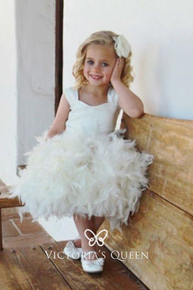 f034047ed43 Fairytale Ivory Satin and Feather Tank Bodice Flower Girl Dress for Toddlers