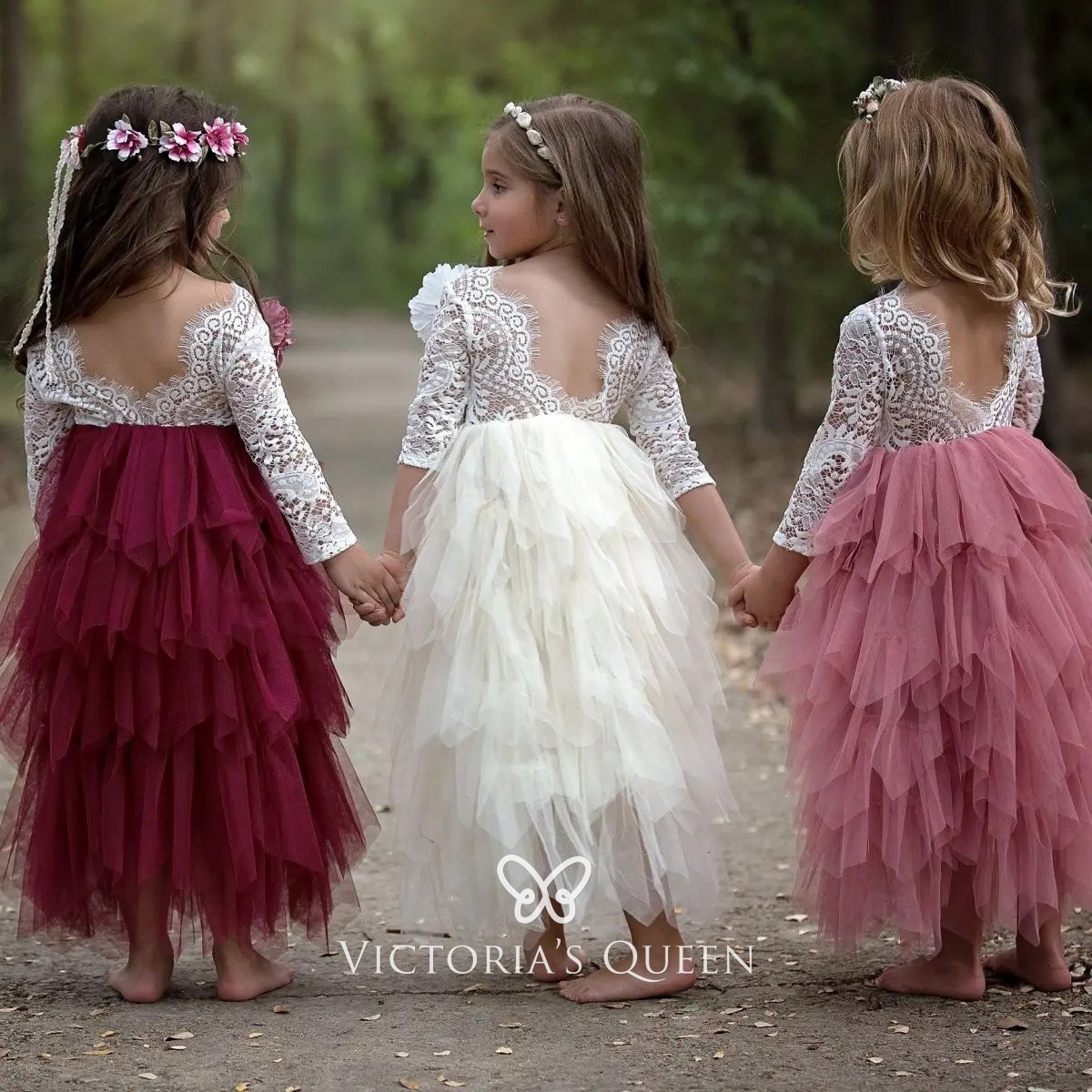 quite nice new appearance 100% top quality White Lace and Tiered Ruffle Tulle Flower Girl Dresses